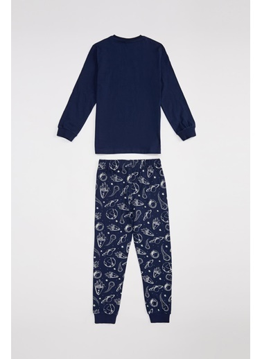 DeFacto Erkek Çocuk Karanlıkta Parlayan Pijama Takımı Lacivert